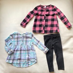 EUC BUNDLE 2 flannels and 1 pair of leggings